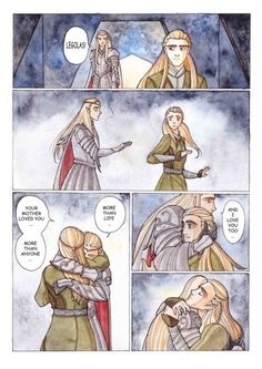 elven-nicknacks:Legolas and Thranduil…as it should be! by Theodora85 THIS IS REALLY WHAT THRANDUIL MEANT TO SAY, BUT HE DID NOT KNOW HOW. HE LOVES IS SON... I WANT TO CRY NOW BECAUSE IT'S SO TRAGIC!