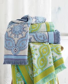 Crushing on these colorful bathroom towels that add personality with bold medallions and fringe. They'll add the perfect pop to the home decor.