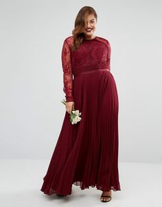 Asos curve lace dress with long sleeve