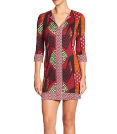 NWT DIANE VON FURSTENBERG ROSE COLLAGE PRINT SILK JERSEY TUNIC SHIFT DRESS 0 XS #DVF #ShiftStretchBodyconTunic #Casual
