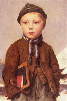 Albert Samuel Anker (1831-1910)-'school boy'-oil on canvas