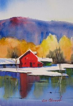 landscape painting of mountains and farm - Google Search