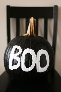 A cool, graphic spooky painted pumpkin tutorial from The Sweetest Occasion