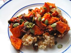 Copy cat Kashi Mayan Harvest Bake - plantains, roasted sweet potatoes, black beans and kale with a spicy ancho sauce and pumpkin seed garnish – all the served over Kashi's seven whole grain polenta and amaranth.