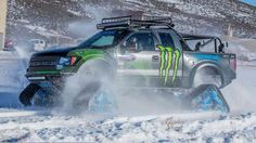 FORD F-150 RAPTORTRAX The Ford F-150 Raptor is a bit of an animal at the best of times, but by the time Ken Block and his pals at Hoonigan Racing had finished playing, there was only going to be one result. It's the F-150 RaptorTRAX, complete with a 6.2-litre V8 engine, 411hp, 434lb ft of torque and - in case you hadn't noticed - a set of rubber Mattracks. Look out for it as Ken and his snowboarding friends 'slay some powder'. His words, not ours.