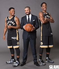 """With All-Stars DeMar DeRozan and Kyle Lowry killing it on the court and megastar rapper Drake serving as the official """"Global Ambassador"""" of the franchise, the Toronto Raptors have become one of the hottest teams in the NBA. What a time, indeed. Toronto Raptors, Basketball Memes, Basketball Players, Basketball Art, San Antonio Spurs, Summer Sixteen Tour, Slam Magazine, Tom Ford Dress, Drake Drizzy"""