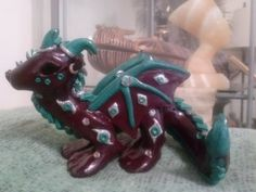 Burgundy and teal blue and silver Elder Dragon by TheDragonsMark