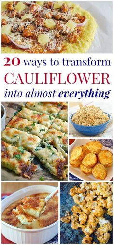 20 Ways to Transform Cauliflower into Almost Everything - the best cauliflower recipes for everything from pizza and bread sticks to tots and bites whether you are looking for gluten free low carb meatless or just some extra veggies. - March 02 2019 at Gluten Free Recipes, Vegetarian Recipes, Cooking Recipes, Healthy Recipes, Vegetarian Low Carb Meals, Recipes For Diabetics, Cooking Bacon, Best Cauliflower Recipe, Parmesan Cauliflower