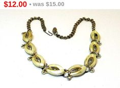 Mad Men Era Necklace - Pearlescent White and Aurora Borealis Rhinestones - Vintage Jewellery