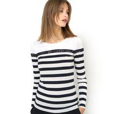 T-shirt rayures et dentelle Prix Mini   La Redoute