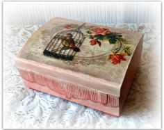Decoupaged wooden box, perfect as a tea box or jewelry box ,with removable dividers inside. Decoupaged with a beautiful vintage style paper napkin with peonies,sides stenciled with modeling paste,painted with acrylic paints and patinas. Would make wonderful gift for vintage style lover. Protected with acrylic varnish. The colors may slightly vary on your display. Size:16 x 16 x ,7,5cm  Thank you for visiting my shop :)