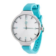 Xtreme Fortune NYC Slim Ladies Silvertone Case with Turquoise Strap Watch