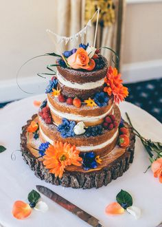 Orange and Blue - Naked 3 tier, rustic Wedding Cake - Deans Place Hotel, Alfriston - www.matthewpagephotography.co.uk