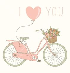 Valentine card with pink bicycle vector- by artnis on VectorStock®