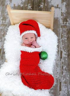 babys first christmas knit hat and stocking - getting this made for Jaxon hat kids children Christmas Stocking Cocoon & Santa Hat Christmas Baby, Babies First Christmas, Christmas Decor, Christmas Trees, Christmas Snowman, Christmas Nails, Baby Kind, Baby Love, Cocoon Bebe