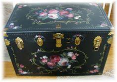 Original hand painted custom antique trunk