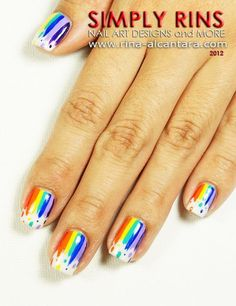Rainbow nail art designs are very popular this season. Some women like rainbow nails. Rainbows may have different meanings in one's life. It can be a basic way to indicate life and its many stages of mental state. If you also like rainbow nails, lo Fancy Nails, Cute Nails, Pretty Nails, Nail Art Arc En Ciel, Hair And Nails, My Nails, Rainbow Nail Art Designs, Rainbow Nails, Manicure E Pedicure