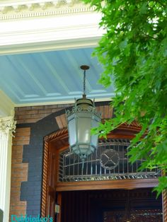 Southern porch painted Haint blue - Debbiedoo's Beautiful Architecture, Architecture Details, Haint Blue Porch Ceiling, Porch Paint, Blue Ceilings, Southern Porches, Building An Empire, Living Room Colors, Living Rooms