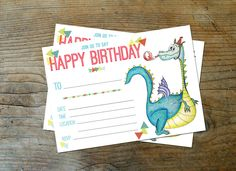 Fillable Dragon Birthday Invitation by LauraSchembre on Etsy