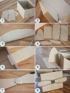 Tuto DIY : fabriquer un avion en carton Cardboard Airplane, Cardboard Box Crafts, Cardboard Toys, Planes Birthday, Baby Boy 1st Birthday, Baby Crafts, Toddler Crafts, Carton Diy, Airplane Party