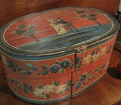 Early Antique Dated 1850 Bentwood Brides Box.
