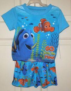 New Toddler Boys size 5T Finding Dory Nemo Pajamas 2 piece set Shirt Shorts   | eBay