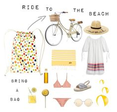 """Stylish cyclist on the beach"" by bringabag on Polyvore featuring J.Crew, MC2, Victoria Beckham, Eugenia Kim, Clarins and Melissa Odabash"