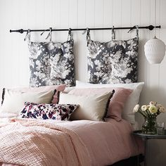 clever ideas and creative combinations will add colour and character, comfort and practicality to every room scheme. For a versatile alternative to a headboard, hang tie-top cushions from a curtain pole above the bed.