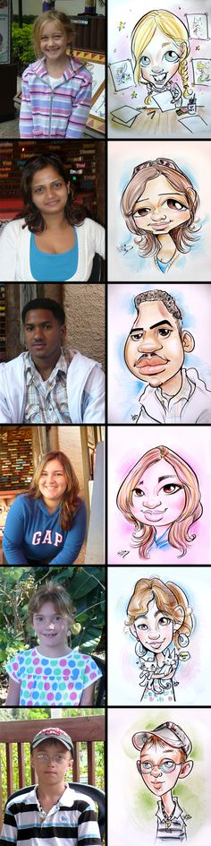Caricatures while working at Busch Gardens