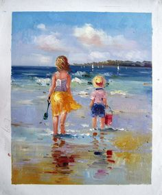 "16"" by 20"" - Children palying At The Beach - Nr.20 - Museum Quality Oil Painting on Canvas Art by Artseasy"