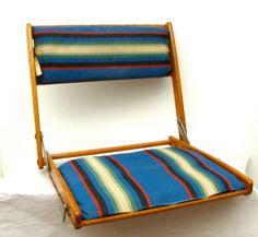 Summer Camp vintage folding oak and striped canvas portable travel chair Canoe Seat 1930s 40s