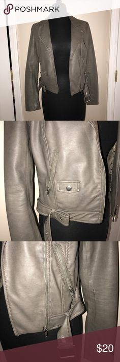 H&M Faux Leather Jacket Faux gray leather jacket. worn once. features zipper pockets and belt detail. H&M Jackets & Coats