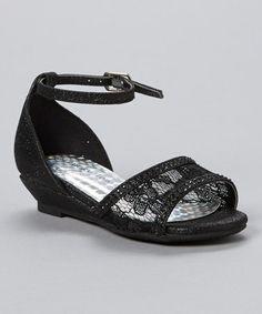 Look at this #zulilyfind! Black Glitter Stage Embellished Ankle-Strap Sandal #zulilyfinds