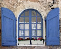 french country cottage French Country decorating French Window with Blue Shutters Vintage Shutters, Blue Shutters, Window Shutters, Window Boxes, Cute Cottage, French Country Cottage, French Country Decorating, French Windows, French Blue