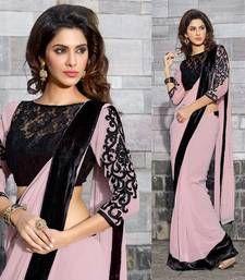 Buy Hypnotex Georgette Cream Saree Ash631 party-wear-saree online