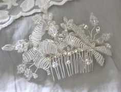 Stunning hair comb with handmade dragonfly & butterfly, Swarovski Crystals and lace