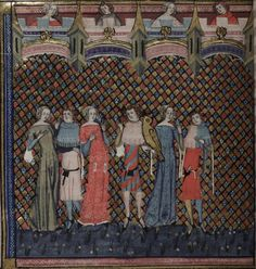 14th century (1338-1344) Flemish - Tournai. Oxford, Bodleian Library.  MS. Bodl. 264: Romance of Alexander (yet again).  The front of the dress of the woman on the far left, wearing green, appears to have buttons to the waist, though it's just possible that the artist could be depicting a rosary/bead string.  fol. 181v