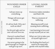 Re-wording and redirecting wounded inner child thoughts Emotional Awareness, Mental Health Awareness, Inner Child Healing, Mental And Emotional Health, Coaching, Self Care Activities, Self Compassion, Emotional Intelligence, Motivation