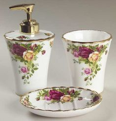 3 Piece Sink Set in the Old Country Roses pattern by Royal Albert China