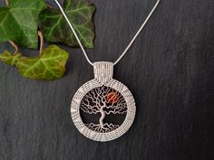 Intricate wirewoven pendant, tree of life in Sterling silver, frame and bail in Sterling silver, the sun is a Carnelian disk. This piece shows an old oak a s a tree of life with a sun shining through the careflly formed branches. The tree is framed by intricate wire weving in different patterns. Natural Models, Ancient Symbols, Different Patterns, Carnelian, Tree Of Life, Silver Beads, Branches, Two By Two, Wire