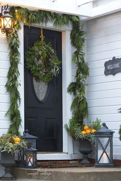 Home for the Holidays- 4 ideas for simple front door decorating -  Did you know that when I first looked at our house   I stood at the top of the front steps and pa...