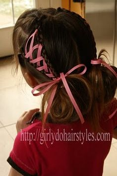 Add ribbon to a simple #hairstyle to make it amazing for #Spring #girlydos
