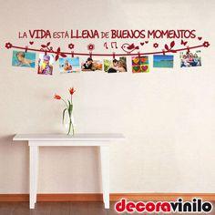 VINILO-DECORATIVO-PARED-BUENOS-MOMENTOS-PASILLO-MURAL-FOTOS-FRASE-141x22