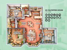 Sims 4 House Plans, Sims 4 House Building, House Floor Plans, Sims 4 Houses Layout, House Layouts, Muebles Sims 4 Cc, The Sims 4 Packs, Sims 4 House Design, Casas The Sims 4