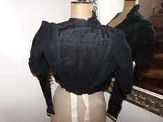 Victorian black lace blouse jacket Antique French jacket w handmade needle lace 1800s gothic steampunk clothing goth vestment made in France by MyFrenchAntiqueShop on Etsy
