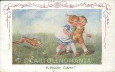 Easter-Children-Wally-Fialkowska-MM-Vienne-serie-1277-postcard-cartolina-QT6217