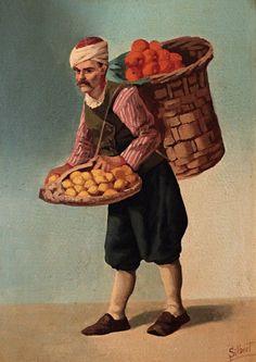 A Fruit Seller, Century (Bir Osmanlı Meyve Satıcısı, Yüzyıl) Childhood Memories 90s, Art Village, Turkish Art, Ottoman Empire, Handicraft, Istanbul, 19th Century, Abstract Art, Illustration Art