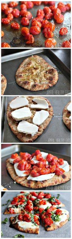 Caprese Flatbread With Balsamic Reduction 1 pint of grape tomatoes  2 T. of olive oil  Salt  2 pieces of whole wheat naan bread  1 teaspoon of minced garlic {approximately 1 garlic clove}  2 T. of olive oil  8 oz. of fresh mozzarella cheese 3 T. of basil Balsamic Reduction