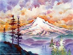 Mount Hood Sunset - Watercolor Painting Print by Michael David Sorensen. Mt. Hood, Oregon. Northwest Mountain. Orange. Purple. Magenta Color