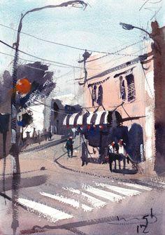 Michael Bennett, untitled New Zealand artist Michael Bennett, Watercolor Paintings, Watercolours, Watercolour Tutorials, Art Boards, Art Lessons, New Zealand, Artsy, Street View